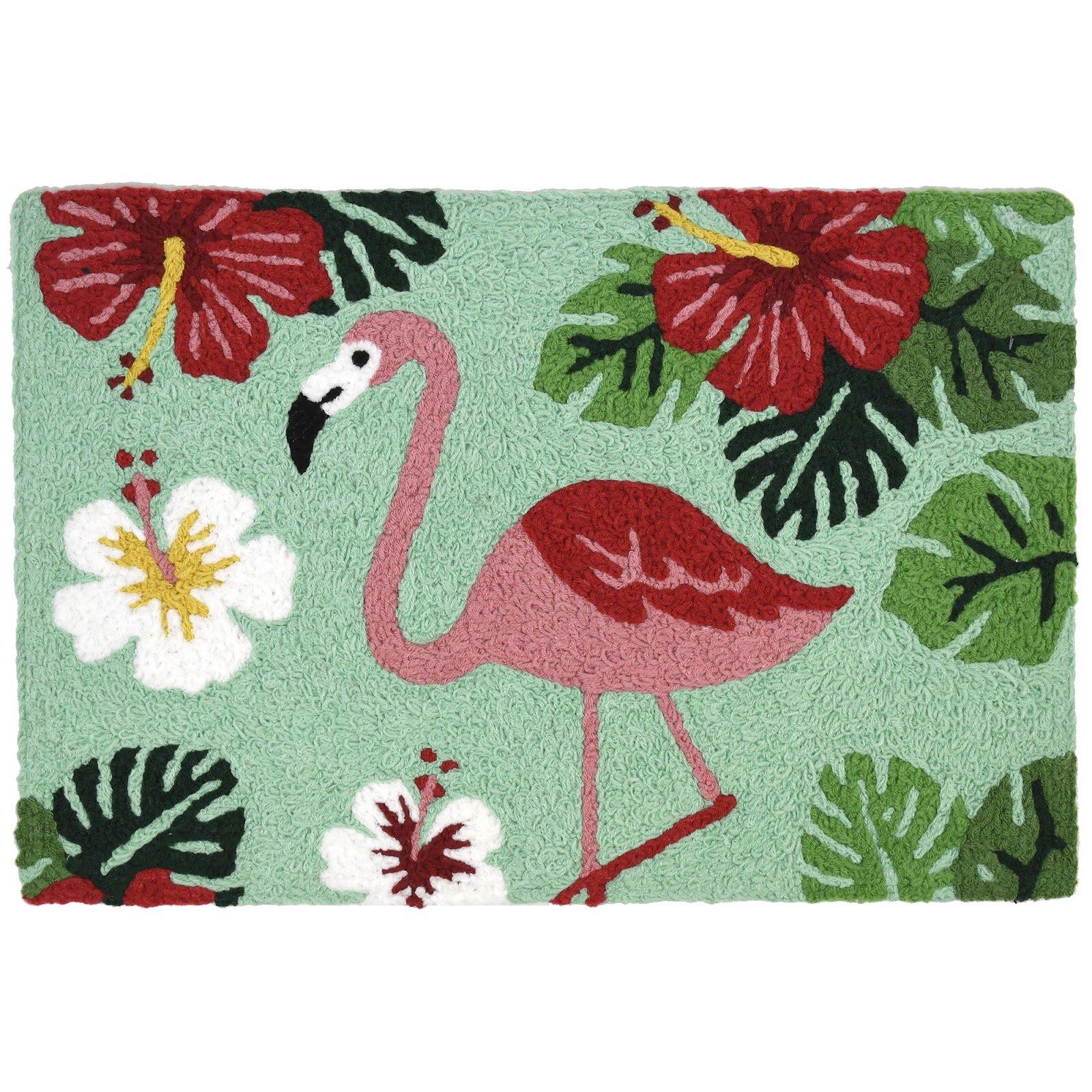 Bay Isle Home Hearne Flamingo And Hibiscus Rectangle Floral Bath Rug Wayfair