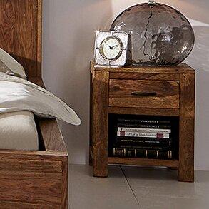 Nachttisch Palison mit Schublade | Schlafzimmer > Nachttische | Braun | Filz | Massivum