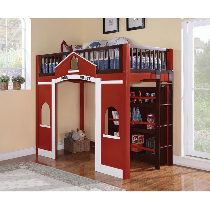 Zoomie Kids Ketner Wooden Firehouse Full Loft Bed With Bookcase
