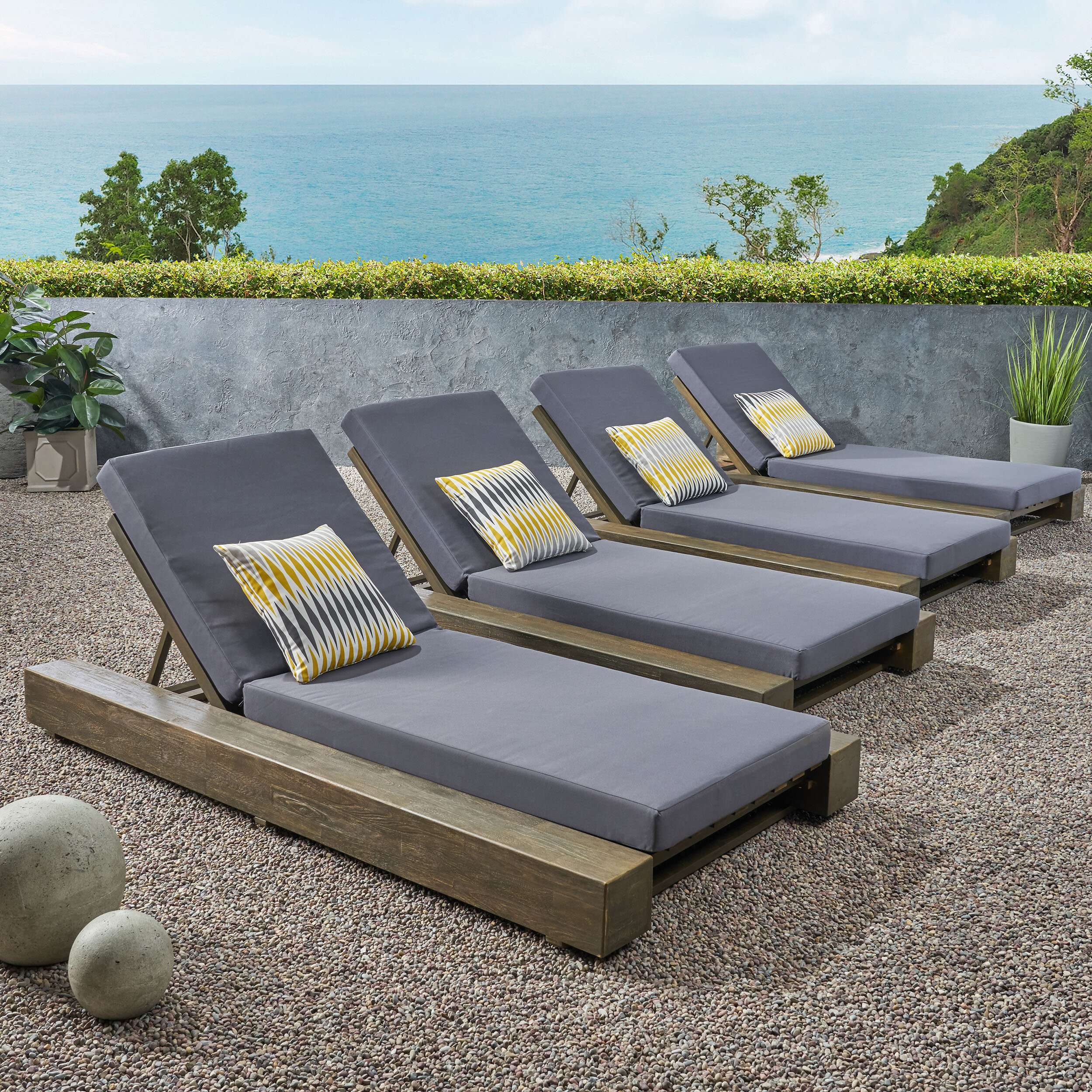 Union Rustic Outdoor Reclining Chaise Lounge With Cushion Reviews Wayfair
