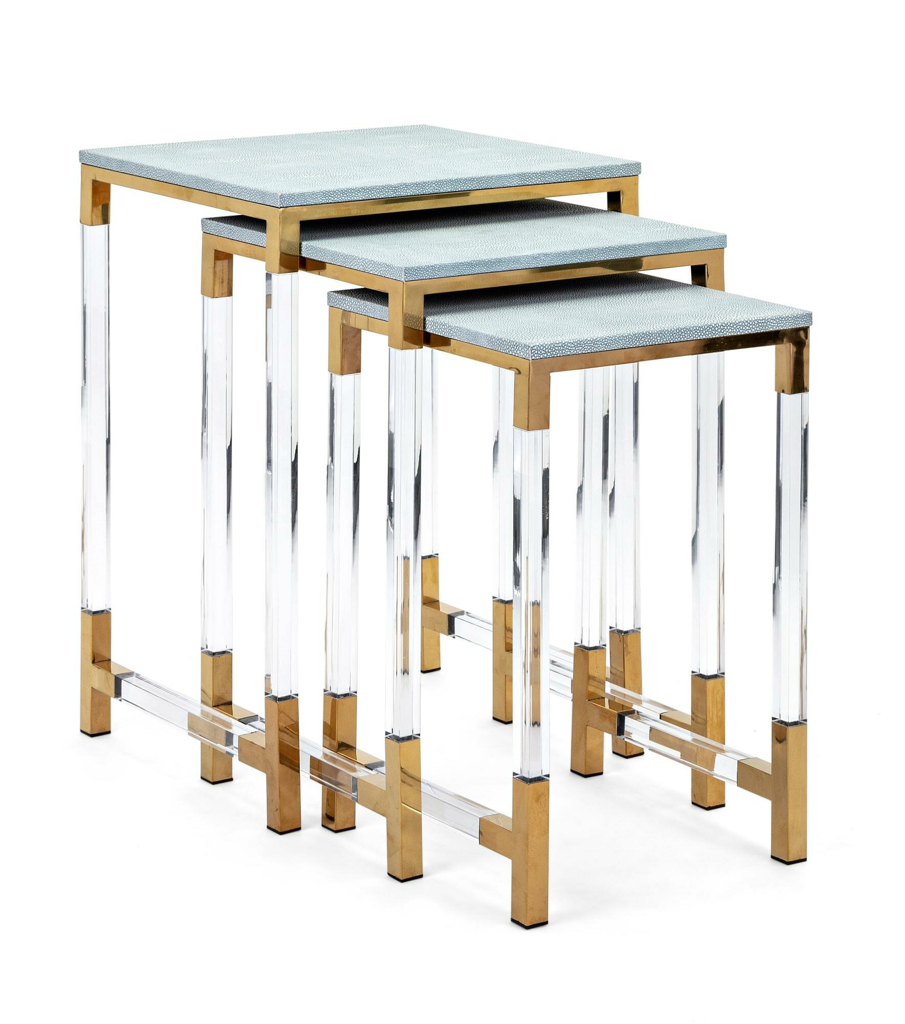 Mercer41 vermehr wood and acrylic 3 piece nesting tables wayfair