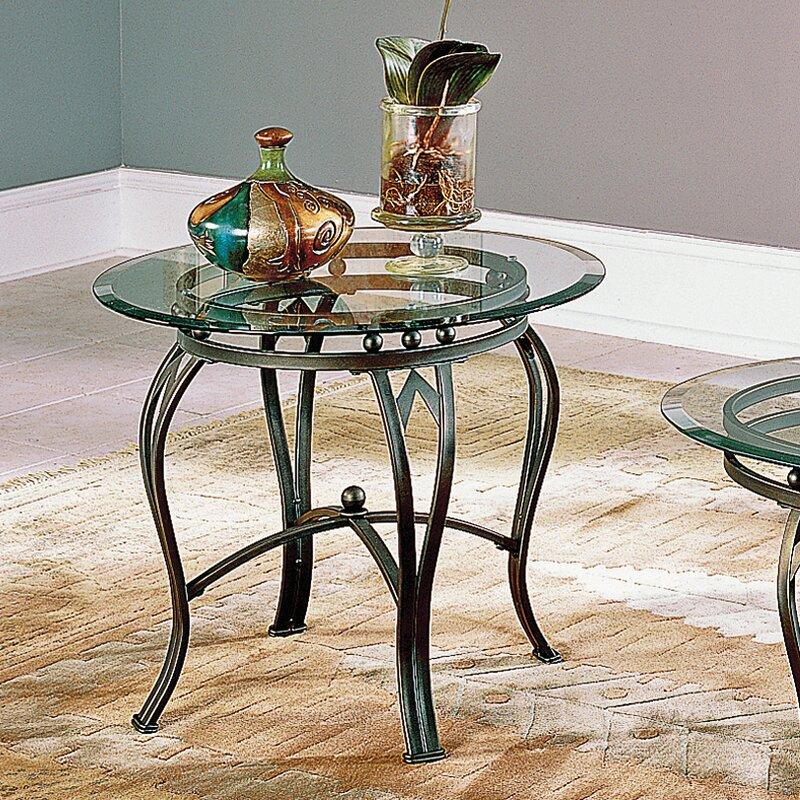 fleur de lis living deanne glass top end table  reviews