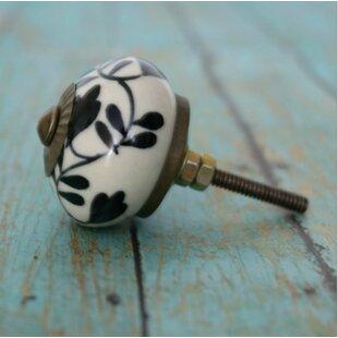 Floral Design Ceramic Round Knob