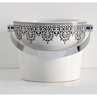 Savings Bucket Ceramic Circular Vessel Bathroom Sink with Overflow ByScarabeo by Nameeks