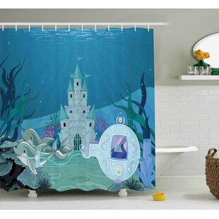 Lottie Fairytale Mermaid Castle Shower Curtain by Zoomie Kids