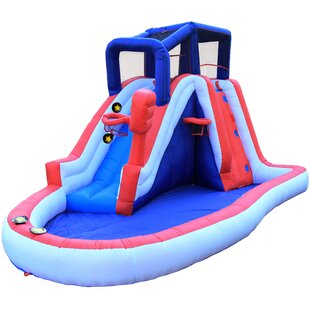 WonderBounz Inflatable Liberty Slam Dunk Slide with Lited Slideway Game