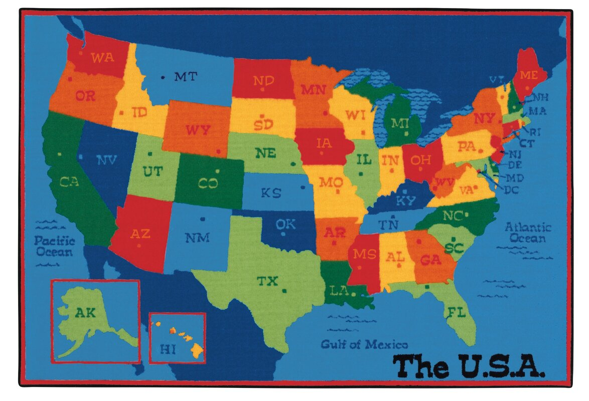 Carpets For Kids Value Plus USA Map Tufted Area Rug Reviews - Picture of usa map