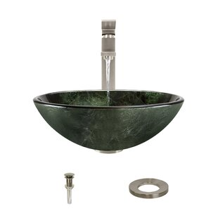 Best Price Forest Glass Circular Vessel Bathroom Sink with Faucet By MR Direct
