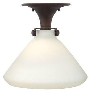Bunnell 1-Light Glass Shade Semi Flush Mount