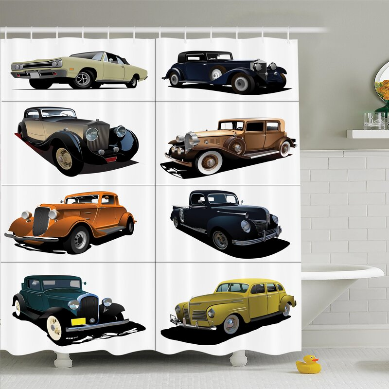 Ambesonne Vintage Collage of Fifties Car Shower Curtain Set | Wayfair