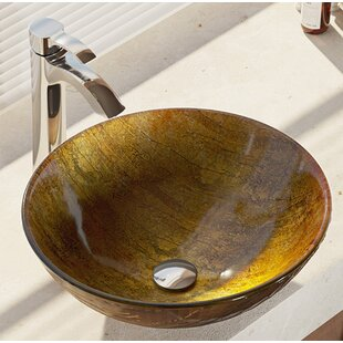 Bargain Hues Glass Circular Vessel Bathroom Sink with Faucet By René By Elkay