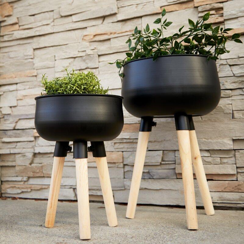 Wrought Studio Stankiewicz 2 Piece Metal Pot Planter Set Wayfair