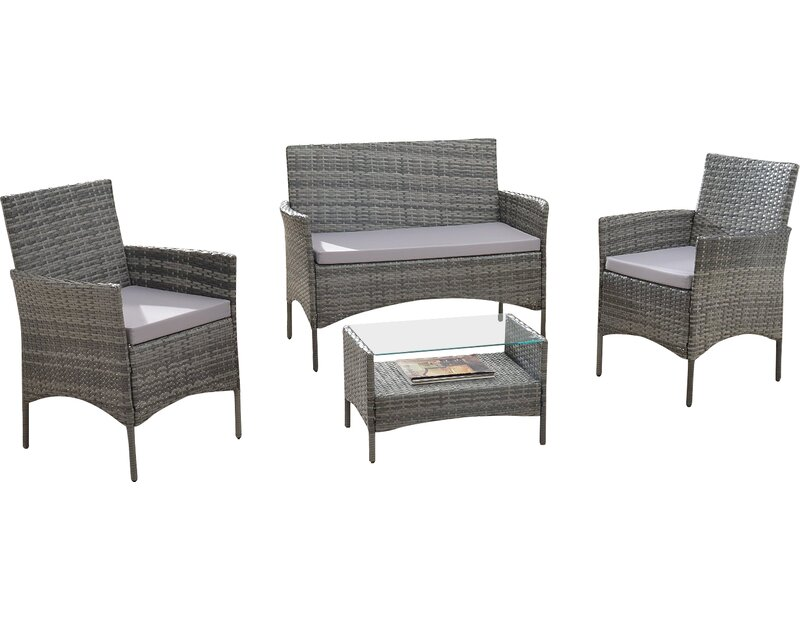 Woodland Park 4 Piece Sofa Set With Cushions