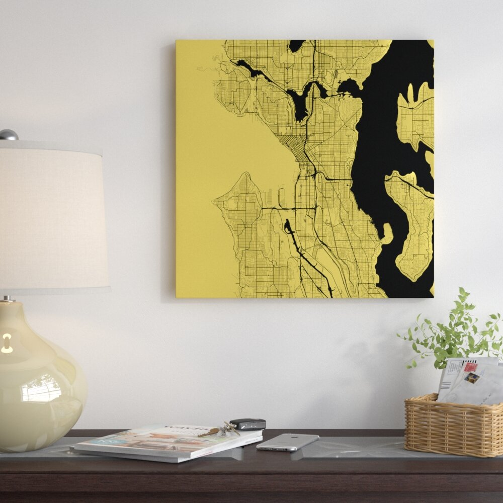 East Urban Home \'Seattle Roadway\' Graphic Art on Wrapped Canvas ...