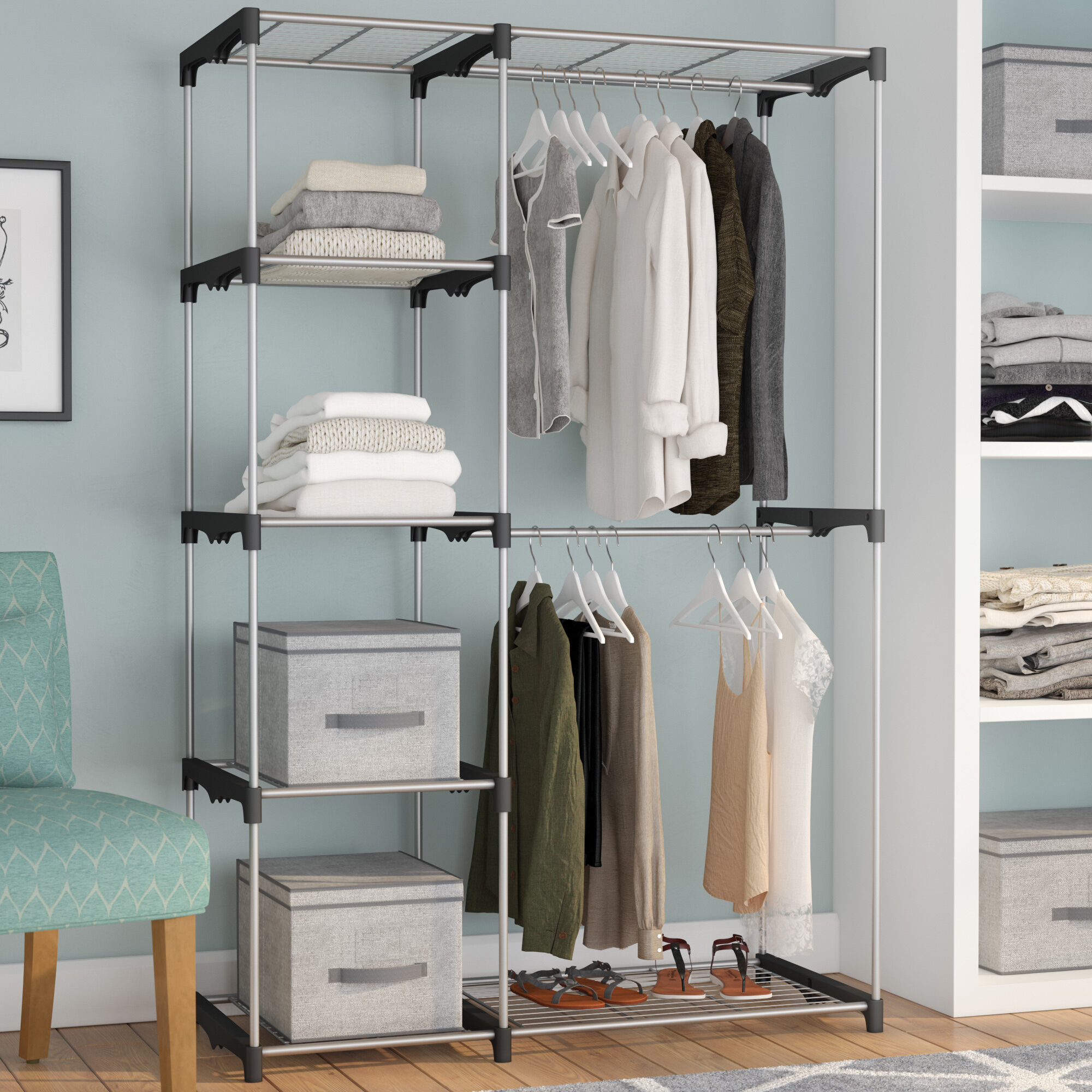 white pin modified projects double standing for hanging closet closetfree diy system ana freestanding