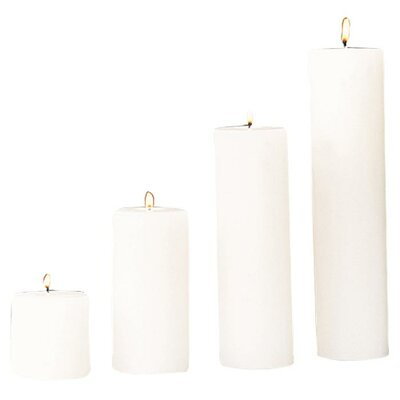 Beachcrest Home Unscented Ivory Pillar Candle