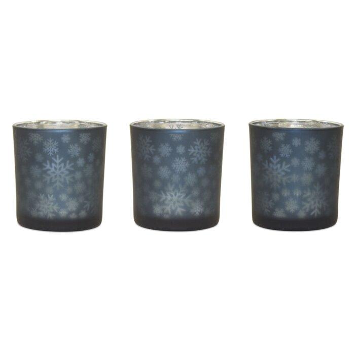 Set of 3 Glass Tea light Holder