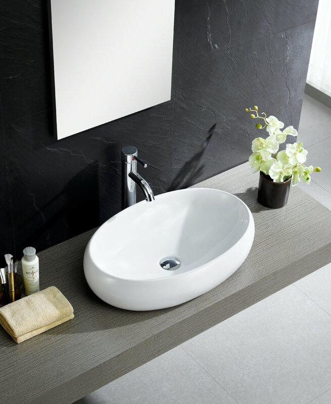 wayfair bathroom sinks. Modern Ceramic Oval Vessel Bathroom Sink Fine Fixtures  Reviews