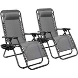 Zero Gravity Recliner Lounge Chair With Removable Pillow And Cup Holder Trays (Set of 2)
