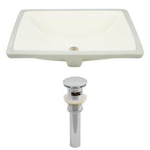 Royal Purple Bath Kitchen Ceramic Rectangular Undermount Bathroom Sink with Overflow