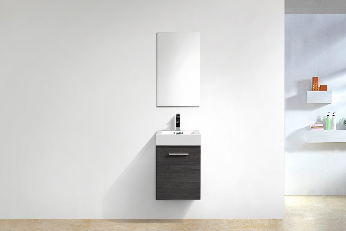 "16 Bathroom Vanity wade logan tenafly wall mount modern 16"" single bathroom vanity"