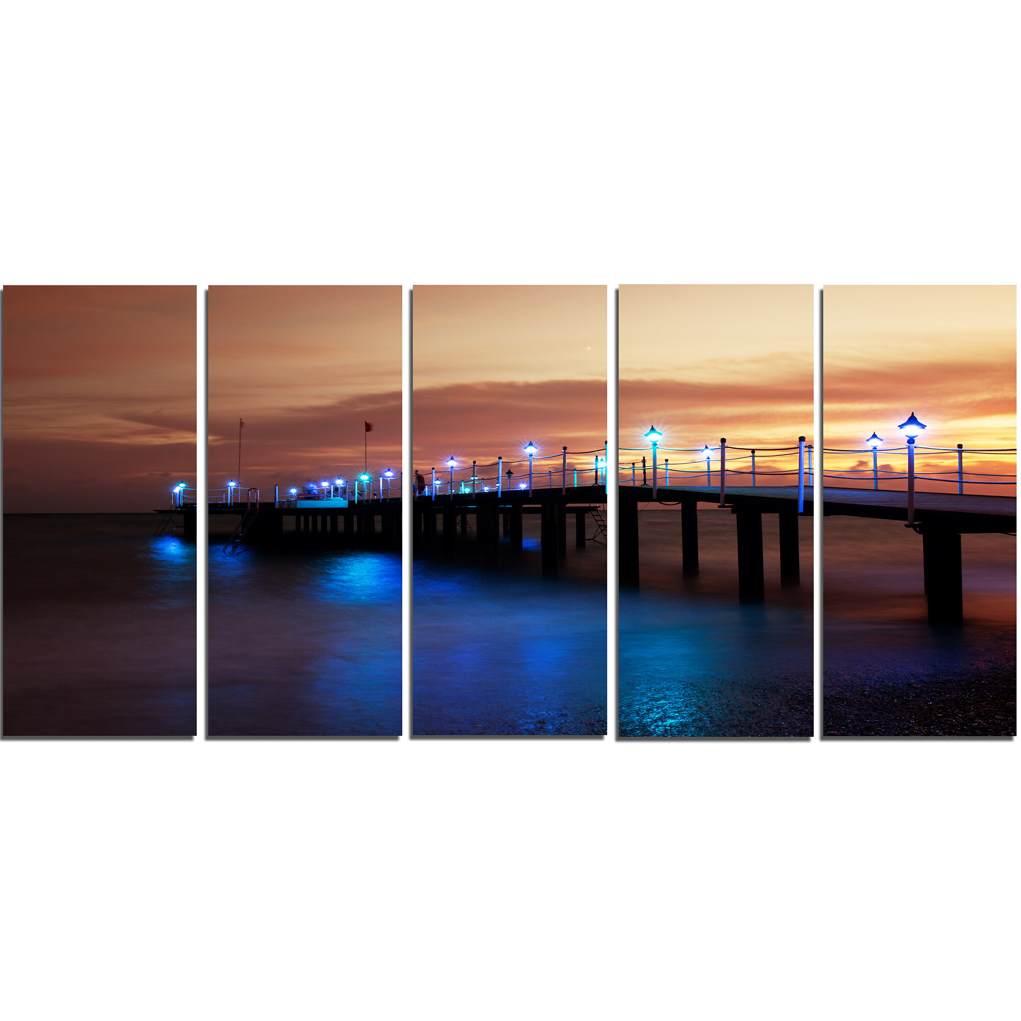 Designart Blue Waters And Bridge At Sunset 5 Piece Wall Art On Wrapped Canvas Set Wayfair