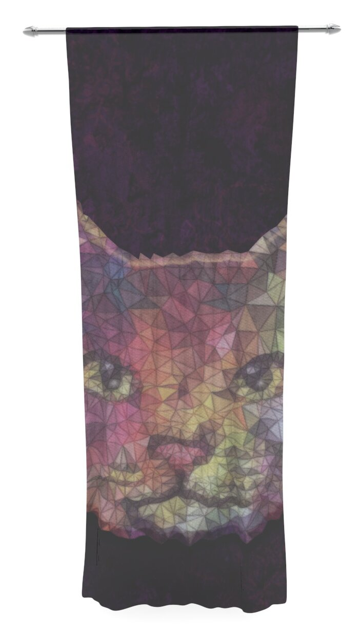 East Urban Home Rainbow Cat By Ancello Graphic Print Text Sheer