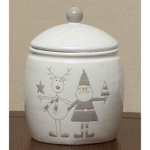 Holiday Santa and Reindeer Ceramic Storage Jar