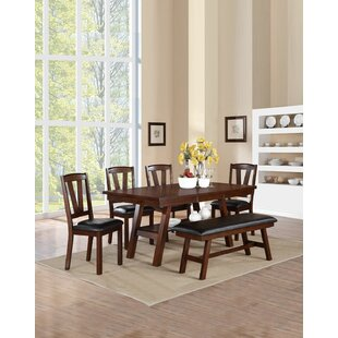 Kaneshiro 6 Piece Solid Wood Dining Set b..