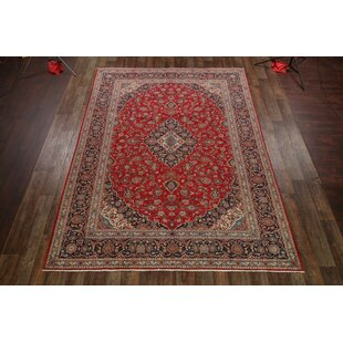 Best Reviews One-of-a-Kind Nowakowski Floral Traditional Kashan Persian Hand-Knotted 9'6 x 13' Wool Red/Black Area Rug By Isabelline