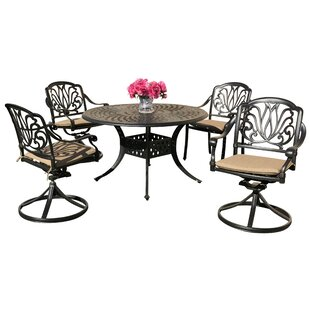 Nina 5 Piece Sunbrella Dining Set with Sunbrella Cushions by Fleur De Lis Living
