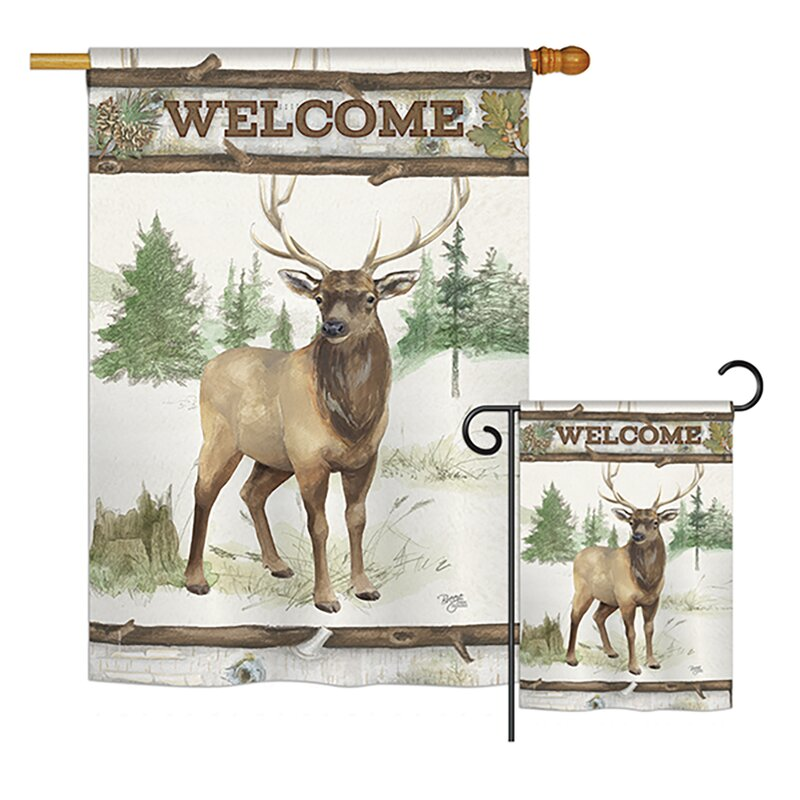 Breeze Decor Welcome Deer Nature Wildlife 2 Sided Polyester 40 X 28 In Flag Set Wayfair