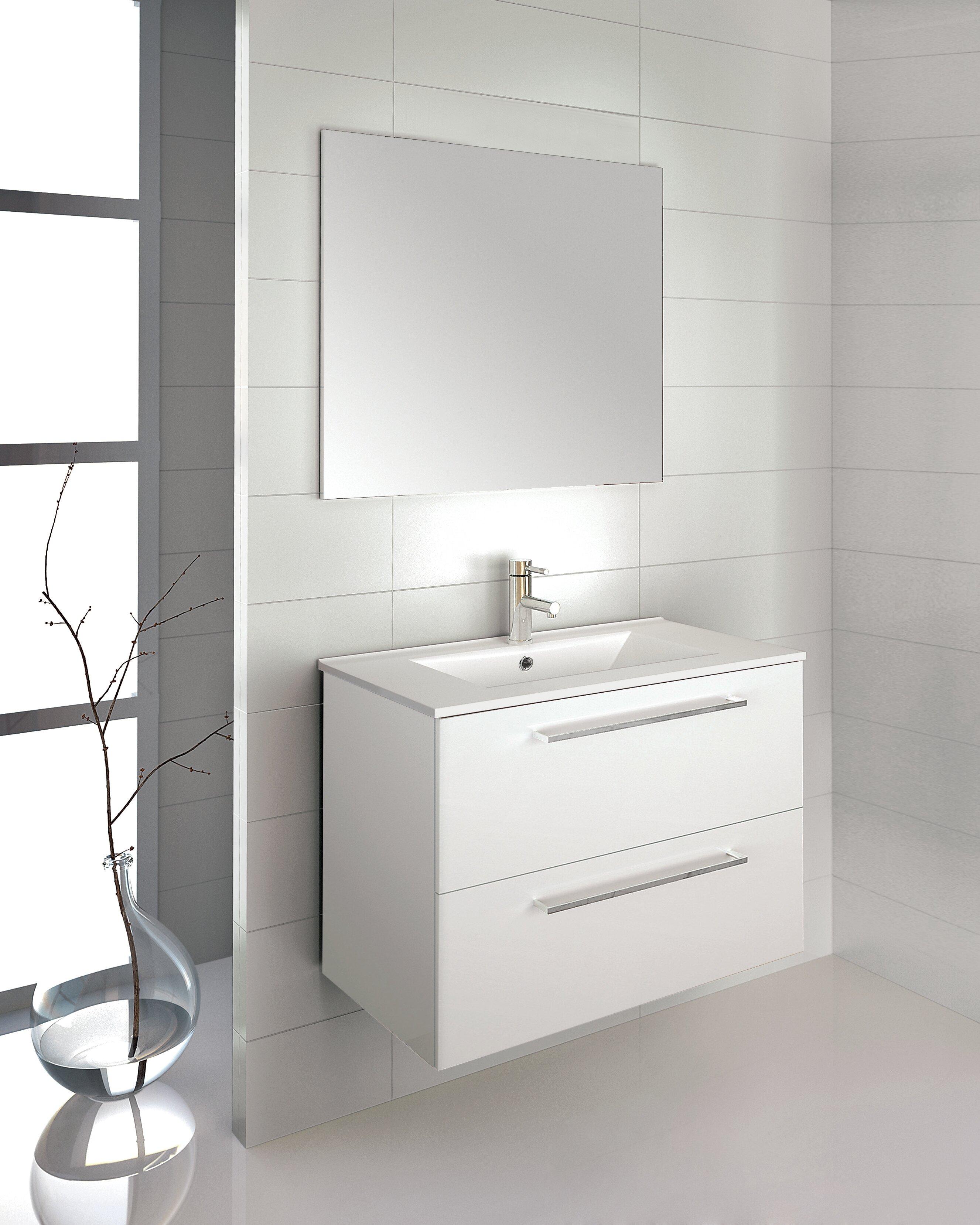 """Kutz 12"""" Wall-Mounted Single Bathroom Vanity Set with Mirror"""
