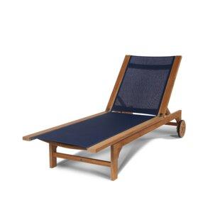 Miranda Sun-lounger Reclining Teak Chaise Lounge by Longshore Tides