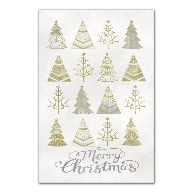 the holiday aisle silver and gold christmas trees graphic art