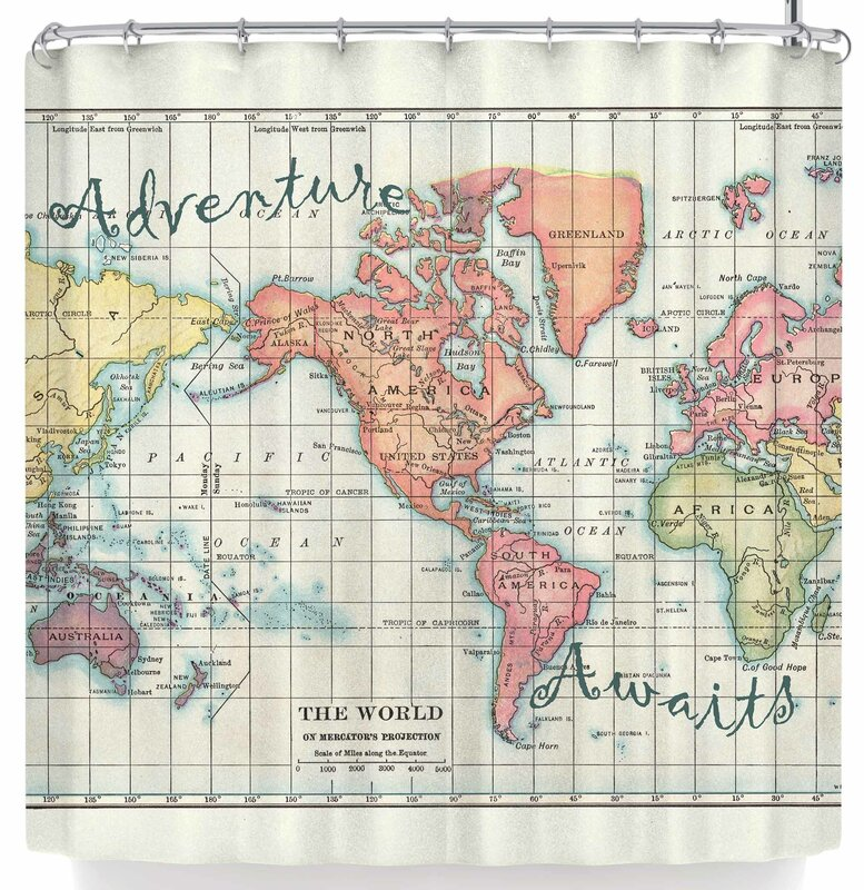 Catherine Holcombe Adventure Awaits World Map Shower Curtain
