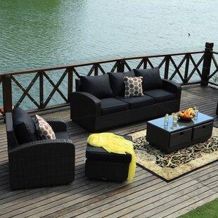 Belmonte 5 Piece Rattan Sofa Set with Cushions by Latitude Run