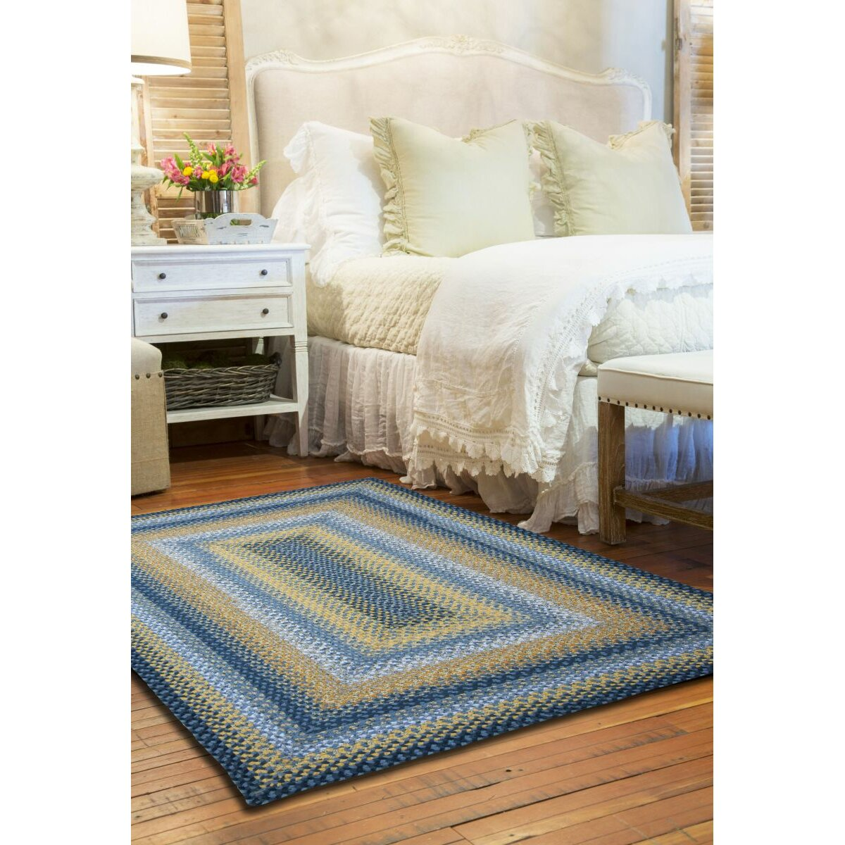 cotton braided sunflowers area rug - Homespice Decor
