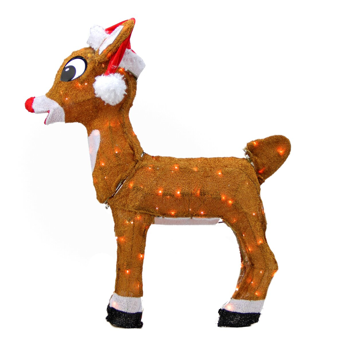 rudolph the red nosed reindeer pre lit in santa hat christmas yard art decoration - Christmas Reindeer Decorations