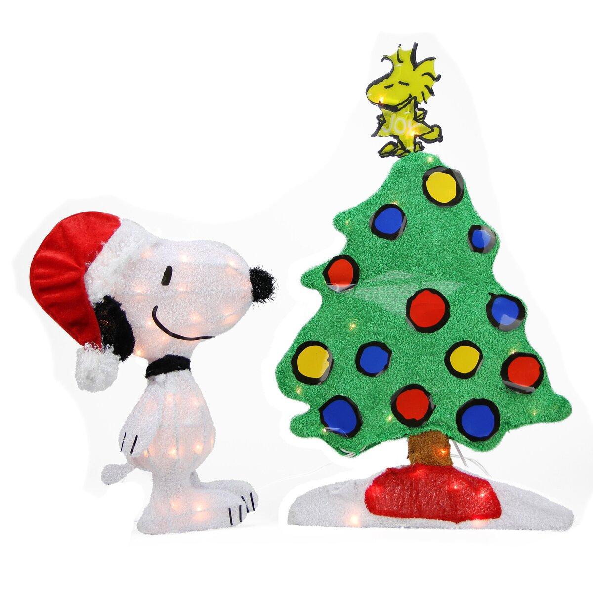 Peanuts christmas tree ornaments - Peanuts Pre Lit 2d Snoopy And Christmas Tree Yard Art Decoration