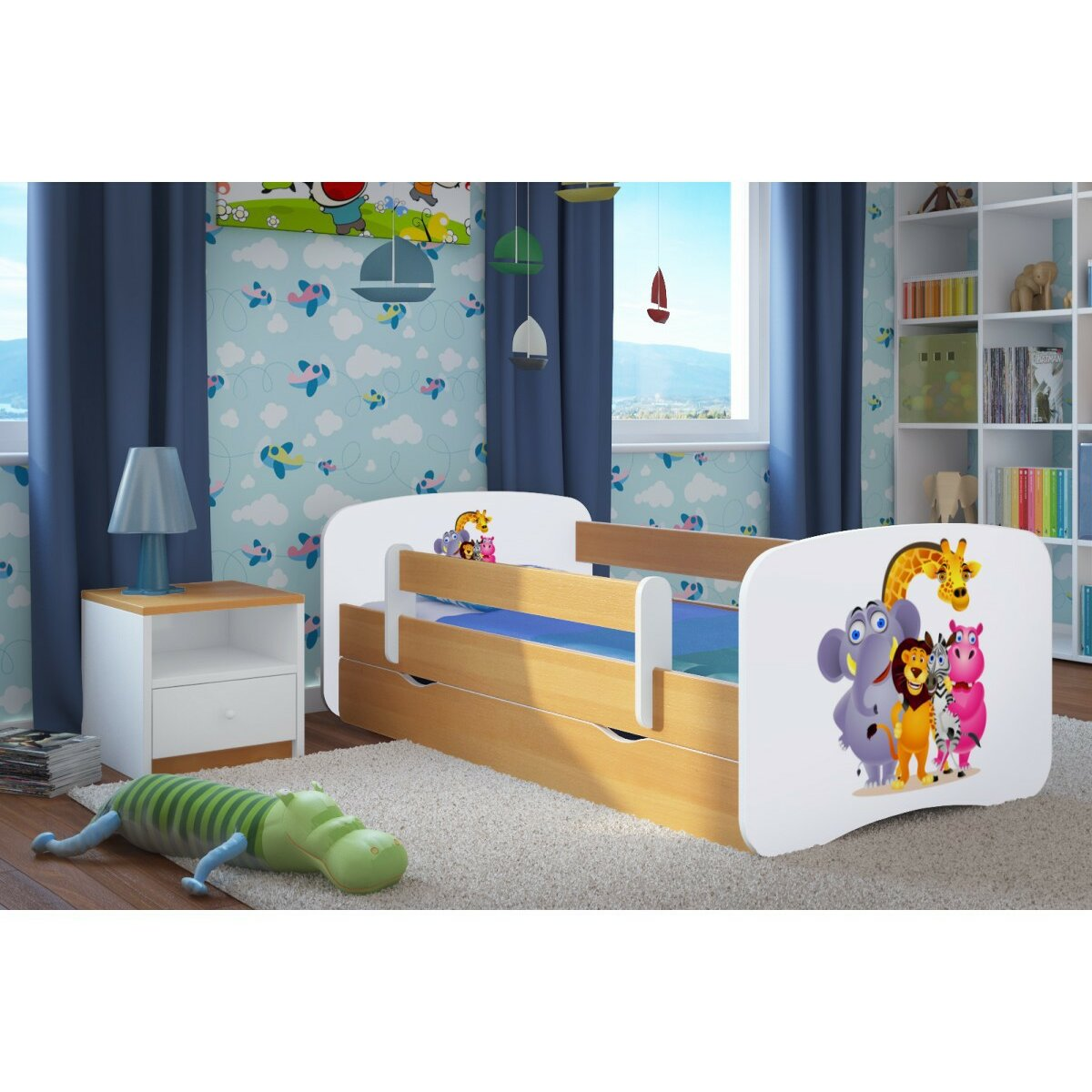 kocot kids kinderbett zoo mit matratze und schublade bewertungen. Black Bedroom Furniture Sets. Home Design Ideas