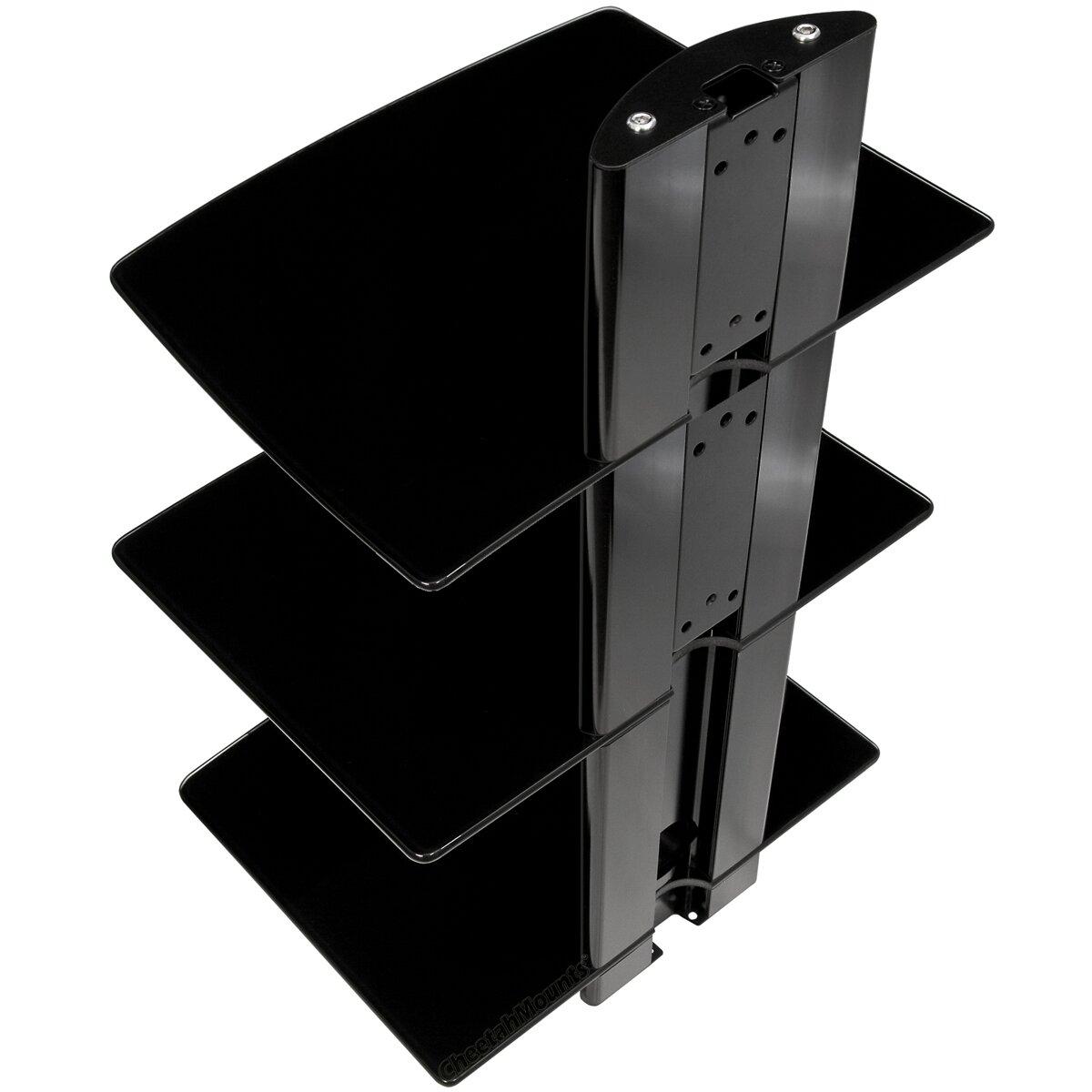 cheetah mounts 3 shelf tv component wall mount shelving. Black Bedroom Furniture Sets. Home Design Ideas