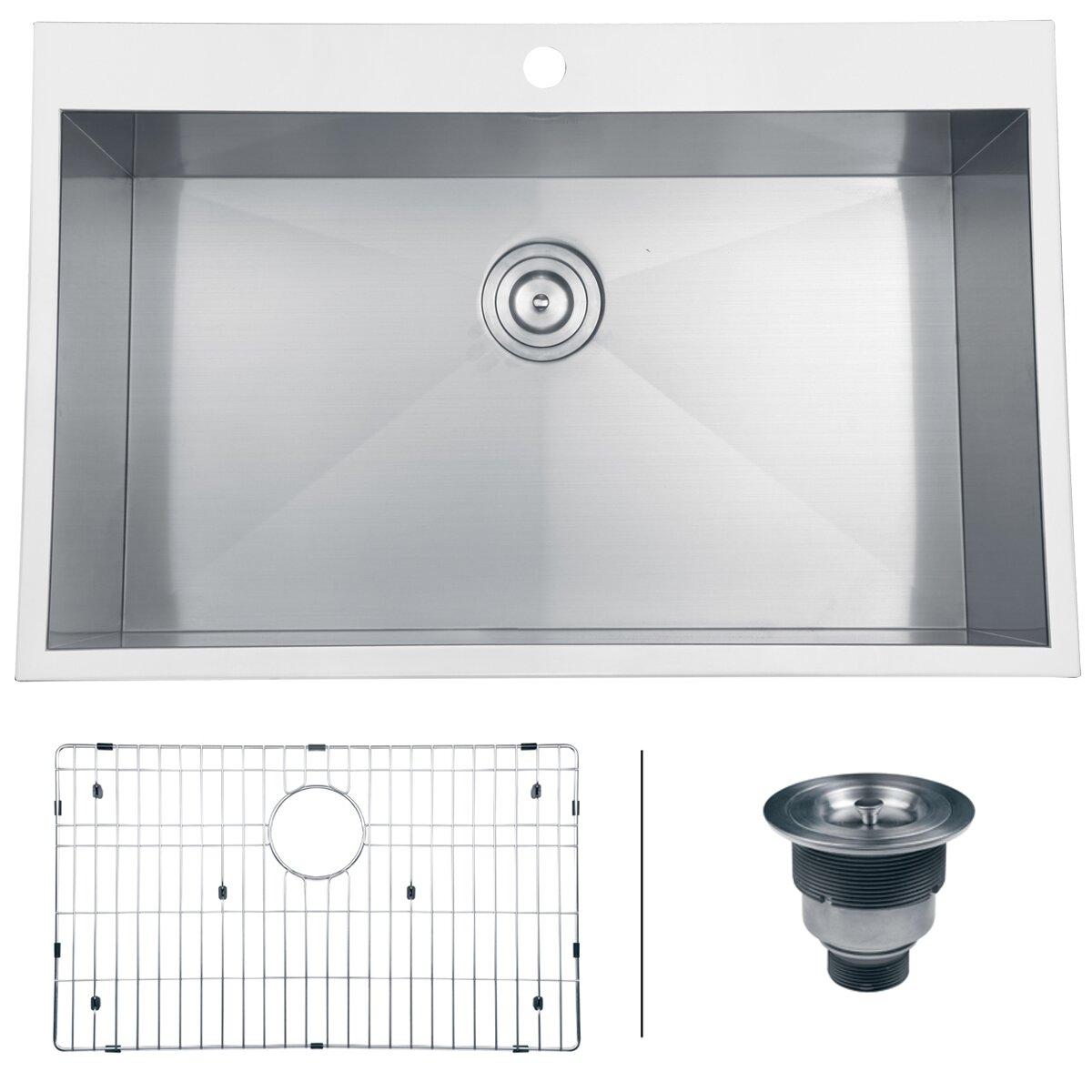 tirana 33 x 21 drop in single bowl kitchen sink - Bowl Kitchen Sink
