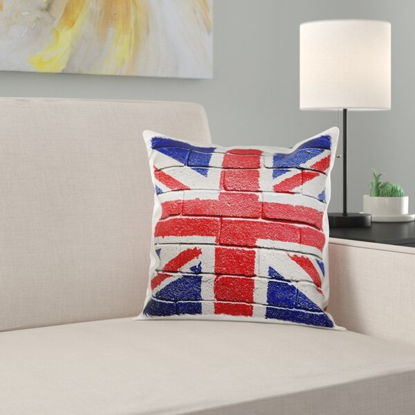 East Urban Home Uk United Kingdom Great Britain British Flag On Brick Wall National Country Pillow Cover Wayfair