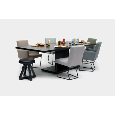 "20:20 Solid Wood Dining Table ARTLESS Size: 30"" H x 72"" L x 42"" W, Top Color: Black Oak, Base Color: Powder Coated Matte Black"