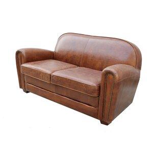 Paris Club Leather Loveseat by Pasargad