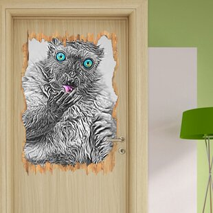Magnificent Blue-Eyed Black Lemur Cleaning Itself Wall Sticker By East Urban Home