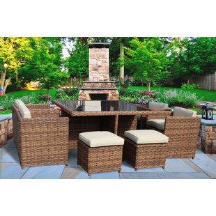 Stetler 9 Piece Sunbrella Dining Set with Cushions by Brayden Studio