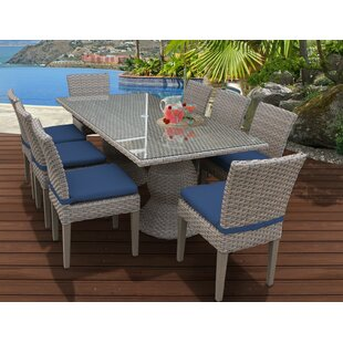 TK Classics Oasis 9 Piece Dining Set with Cushions