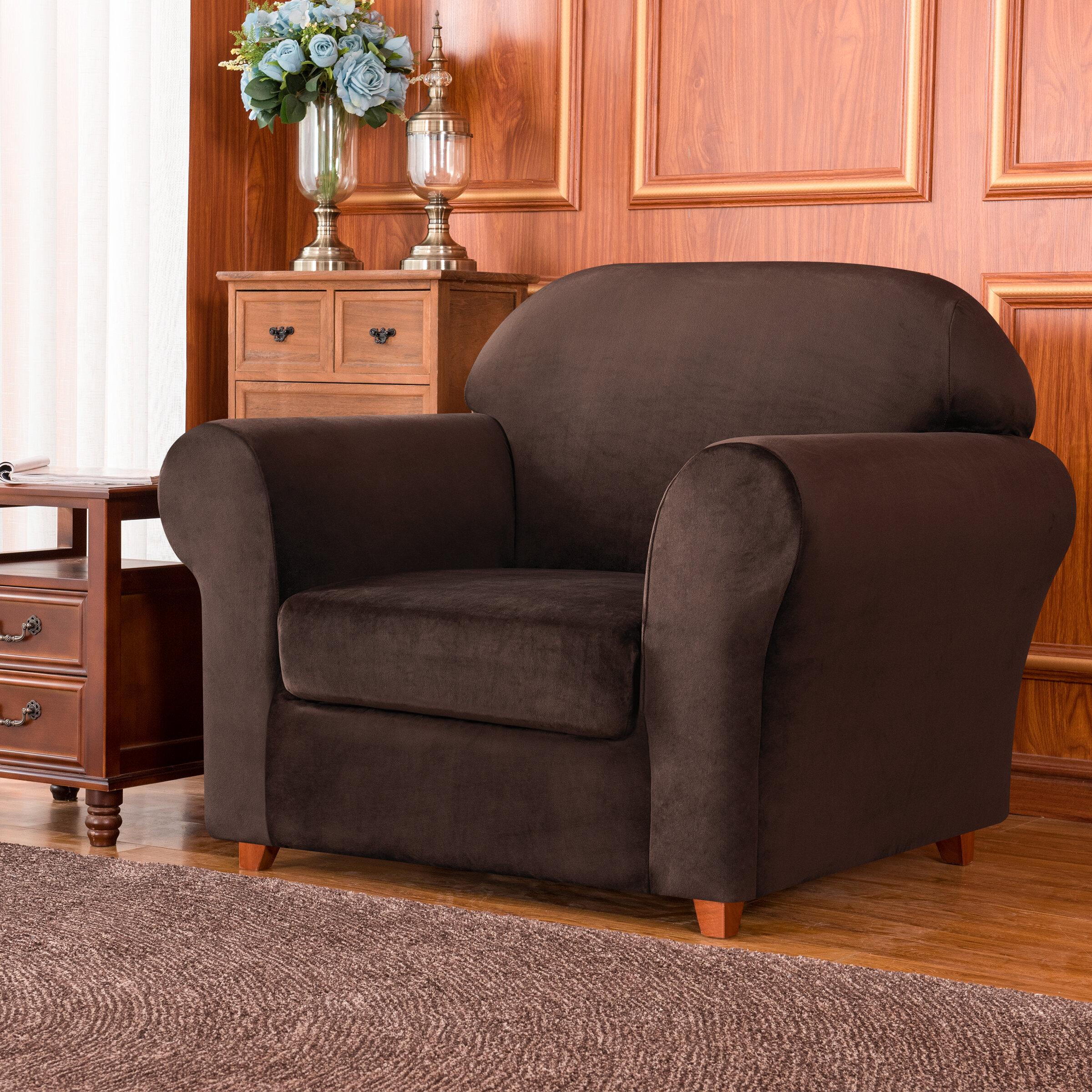 Red Barrel Studio Bronica Plush Soft Stretchy Box Cushion Armchair Slipcover Reviews Wayfair